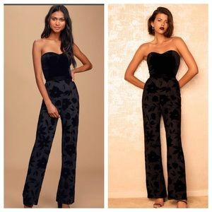 Lulu's Love About Black Velvet Strapless Jumpsuit
